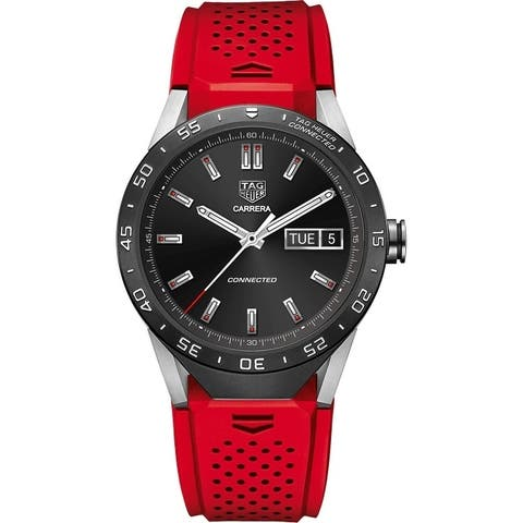 Tag Heuer Men's SAR8A80.FT6057 'Connected' Smartwatch Android Red Rubber Watch