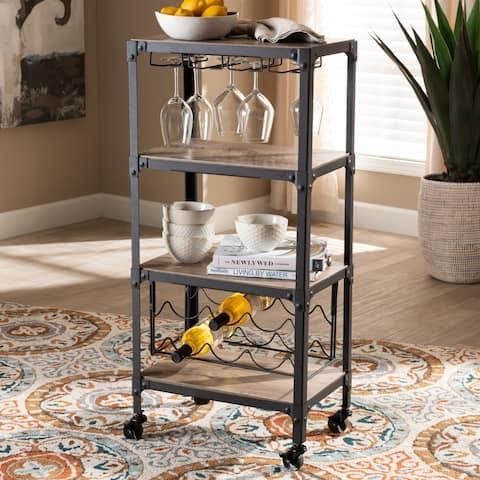Carson Carrington Badene Rustic Industrial Style Kitchen Bar Wine Cart