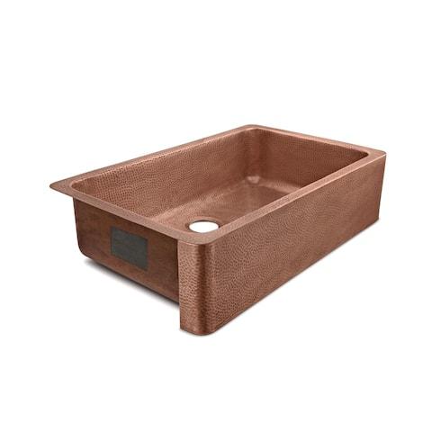 Porter Farmhouse Apron-Front Handmade Copper 36 inch Single Bowl Kitchen Sink in Antique Copper