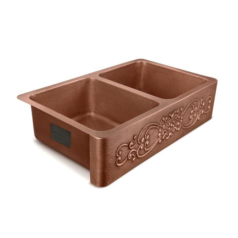 Renzan Farmhouse Apron-Front Handmade Copper 36 inch Double Bowl Kitchen Sink in Antique Copper