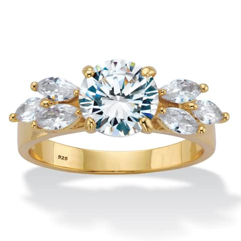 Gold over Silver Round and Marquise Cut Cubic Zirconia Ring - White