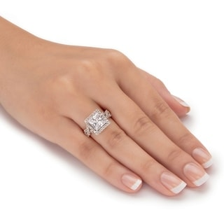 Platinum Over Silver Princess Cut Halo Engagement Ring Cubic Zirconia White
