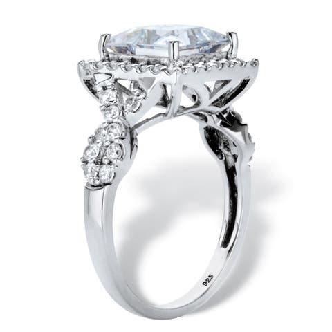 Platinum over Silver Princess Cut Halo Engagement Ring Cubic Zirconia - White