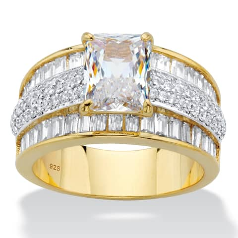 Gold over Silver Emerald Cut Anniversary Ring Cubic Zirconia - White