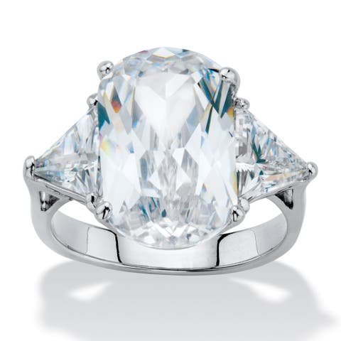 Platinum Plated Oval Engagement Ring Cubic Zirconia (11 1/2 cttw TDW) - White
