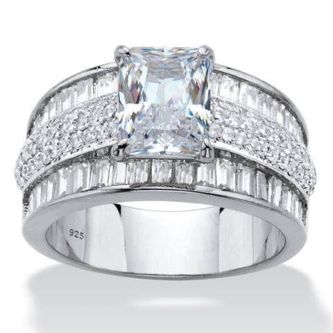 Platinum over Silver Emerald Cut Anniversary Ring Cubic Zirconia - White