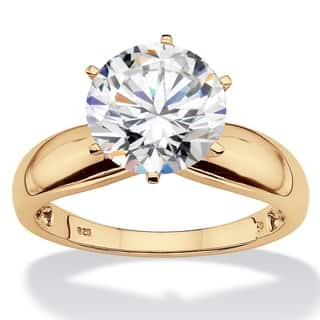 Gold over Silver Cubic Zirconia Polished Solitaire Engagement Ring - White