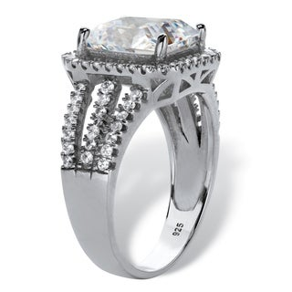 Platinum Over Sterling Silver Rectangular Shaped Halo Anniversary Ring Cubic Zirconia 4 3 8 Cttw TDW White