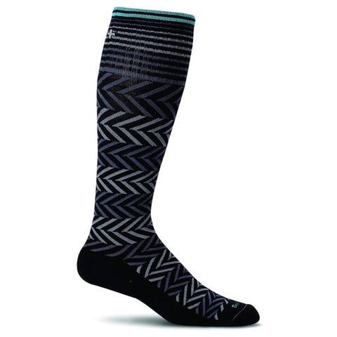 Sockwell Womens Chevron Graduated Compression Socks - Black - Small/Medium