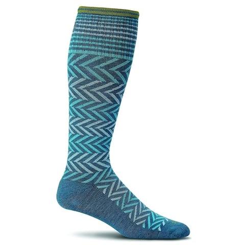 Sockwell Womens Chevron Graduated Compression Socks - Teal - Medium/Large