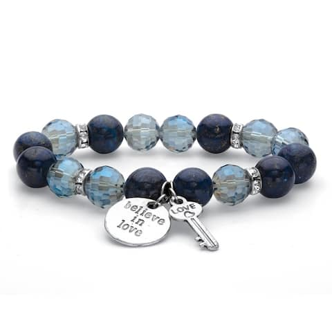 Silver Tone Beaded Stretch Charm Bracelet, Crystals, 7 Inch