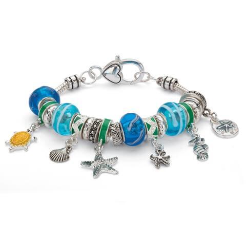 Silver Tone Antiqued Coastal Charm Bracelet (15mm), Crystal, 7 inches