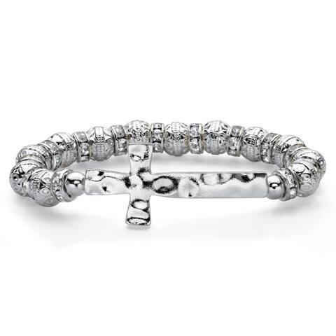 Silver Tone Horizontal Cross Stretch Bracelet, Crystal, 7 inch Length