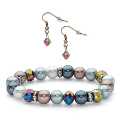 Black Ruthenium Plated Multi Color Stretch Bracelet and Earring Set Crystal and Bead, 7 inch Length - No Clasp - No Clasp