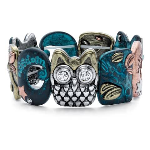 Silvertone Antiqued Owl Stretch Bracelet Crystal 7 inch Length