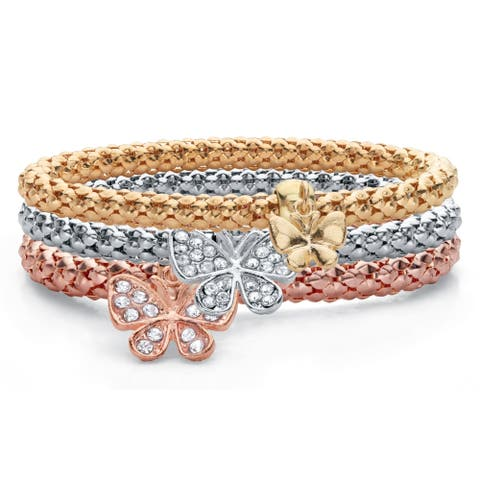 Rose Gold Plated Butterfly Charm Bracelet Set, Crystal, 8 inch Length - No Clasp - No Clasp
