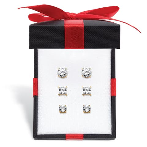 Gold over Sterling Silver 3 Piece Stud Earring Set Cubic Zirconia