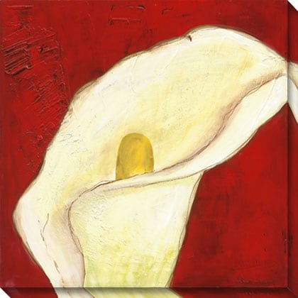 Gallery Direct Calla Lily on Deep Red I Gallery Wrapped Canvas Art