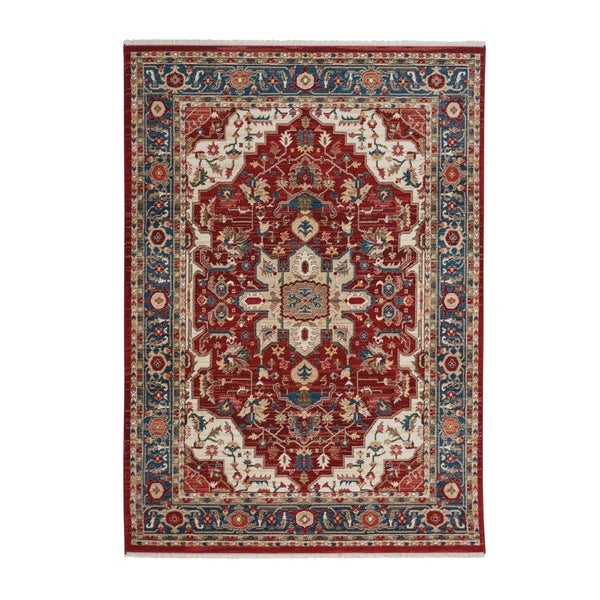 """Alden-Medallion Classic Red Machine Woven Rectangle Rug - 4' 10"""" x 3' 3"""""""