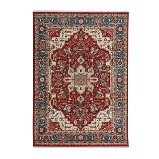 "Alden-Medallion Classic Red Machine Woven Rectangle Rug - 7' 5"" x 5' 1"""