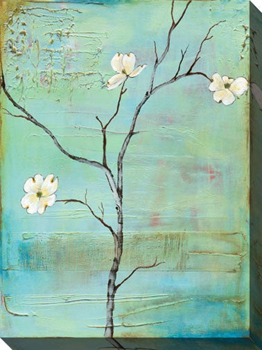 Gallery Direct Dogwood on Turquoise II Gallery Wrapped Canvas Art
