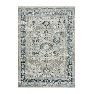 "Alden-Heriz Silver Grey Machine Woven Rectangle Rug - 7' 5"" x 5' 1"""