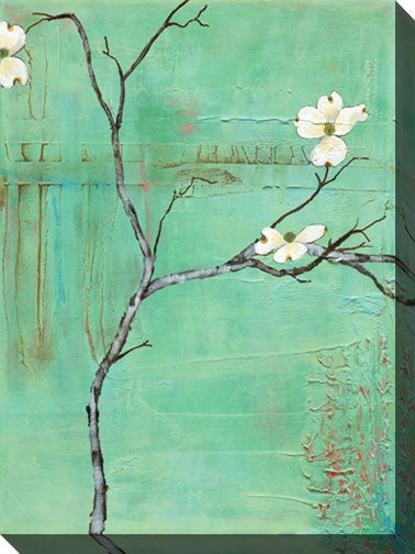 Gallery Direct Dogwood on Turquoise III Gallery Wrapped Canvas Art