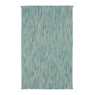"Coastal Blue Flat Woven Vertical Stripe Rectangle Rug - 8' x 24"""