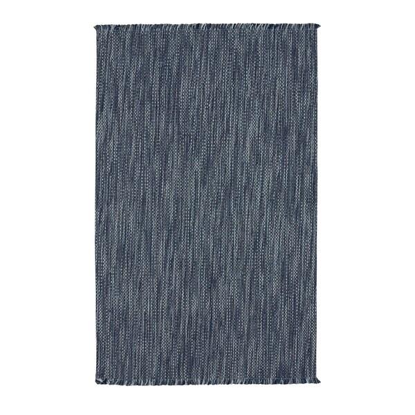 "Coastal China Blue Flat Woven Vertical Stripe Rectangle Rug - 8' x 24"""