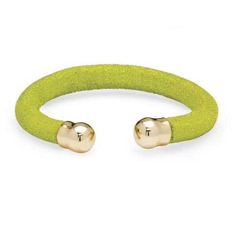 Goldtone Green Cuff Bracelet (8.5mm), Stingray 8 inches Adjustable