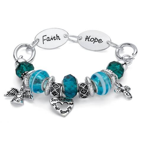 Silver Tone Antiqued Inspirational Charm Bracelet, 7 inch Length