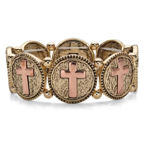 Rose and Gold Tone Hammered Cross Stretch Bracelet, 7 inch Length
