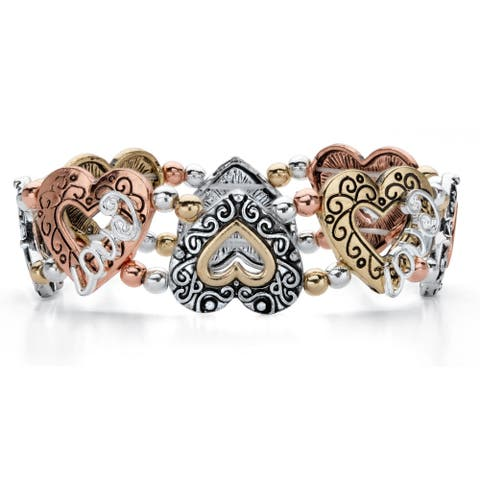 Tri Tone Antiqued Cutout Heart Stretch Bracelet (18.5mm), 7 inch
