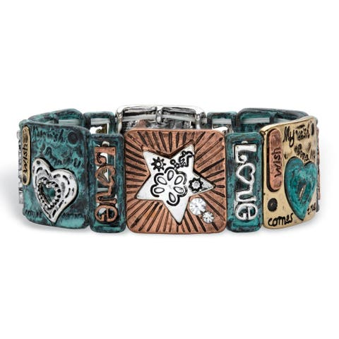 Tri Tone Antiqued Star Stretch Bracelet, Crystal 7 inch Length