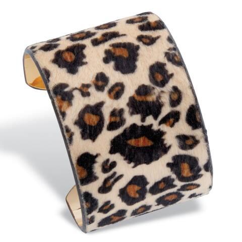 Goldtone Leopard Cuff Bracelet (70mm), Suede 8 inches