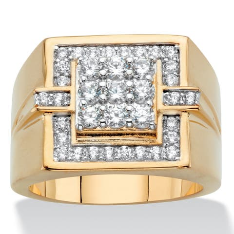 Men's Yellow Gold Plated Round Grid Ring Cubic Zirconia (1 cttw TDW)