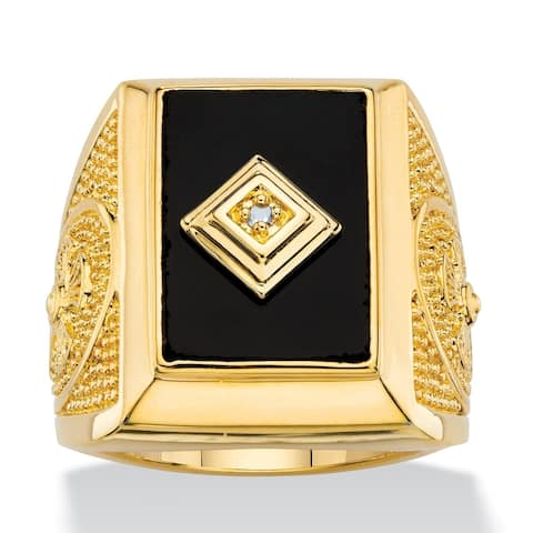 Men's Yellow Gold Plated Natural Black Onyx and Diamond Accent Ring