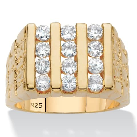 Men's Yellow Gold over Sterling Silver Cubic Zirconia Ring