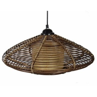 Finely Designed Rattan Hanging Lantern in Brown (As Is Item)