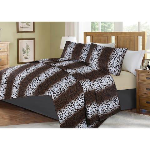 3-Piece Oversized Animal Print Bedspread Set