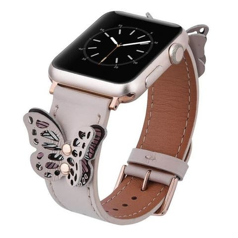 Genuine Leather Butterfly Rivet Band for Apple Watch Series 1, 2, 3, 4, & 5