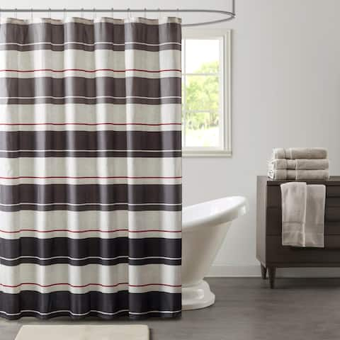 Madison Park Essentials Lydon Grey/ Charcoal Printed Shower Curtain
