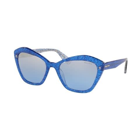 Miu Miu MU 05US 1452B2 55 Glitter Blue Woman Irregular Sunglasses