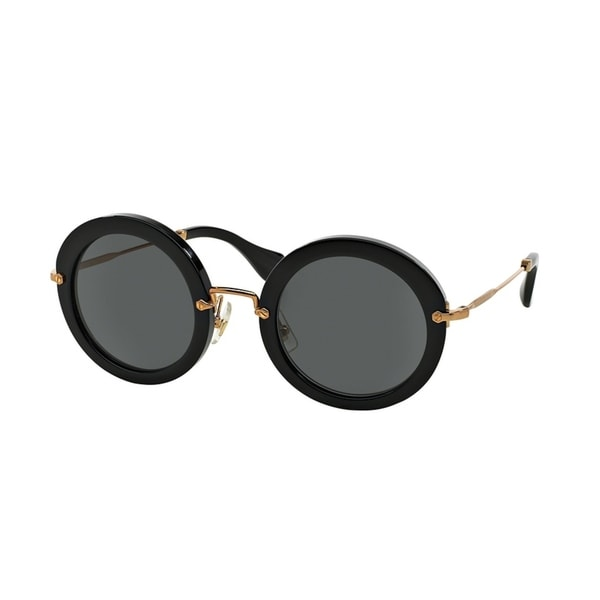 Miu Miu MU 13NS 1AB1A1 49 Black Woman Round Sunglasses