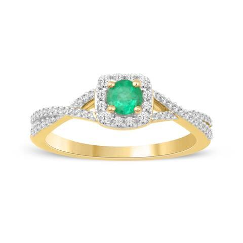 1/4ct TDW Diamond Gemstone Halo Ring in 10k Yellow Gold