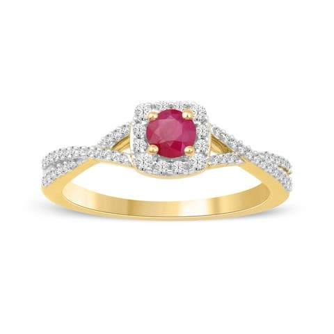 1/4ct TDW Diamond Gemstone Halo Ring in 10k Yellow Gold