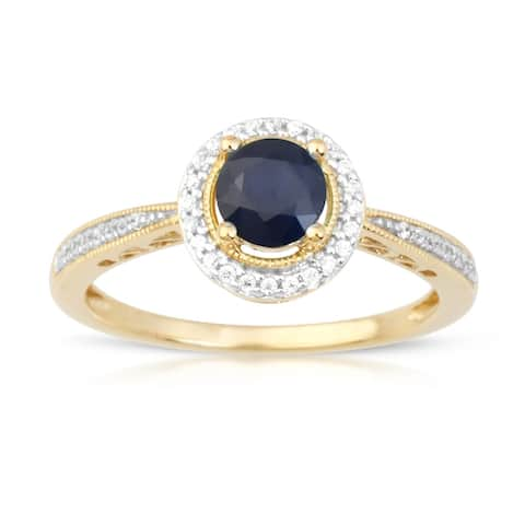 1/8ct TDW Diamond Gemstone Halo Ring in 10k Yellow Gold