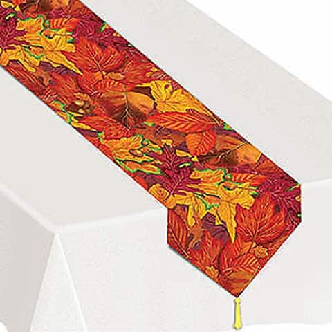 "Plastic Printed Fall Leaf Table Runner 11"" x 6'"