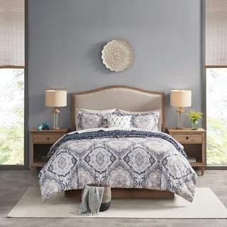 Link to Madison Park Essentials Ashby Navy Reversible Complete Bedding Set Similar Items in Comforter Sets