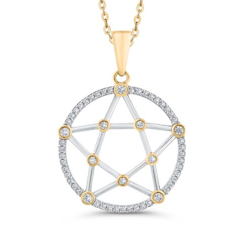 10K Two-Tone Gold 1/3ct TDW Diamond Star in Circle Pendant (G-H, I2)